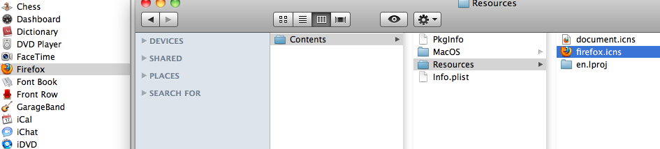 Change application icon in Mac OS - Firefox
