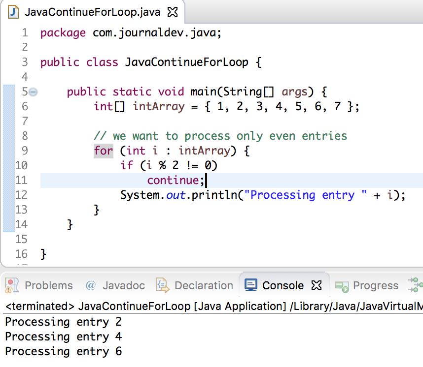java continue statement, java continue for loop