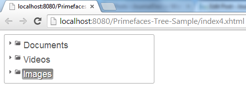 Primefaces Tree - Draggable Drobbale Example - Drop Phase