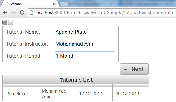 Primefaces Wizard - Step-A Fill Data