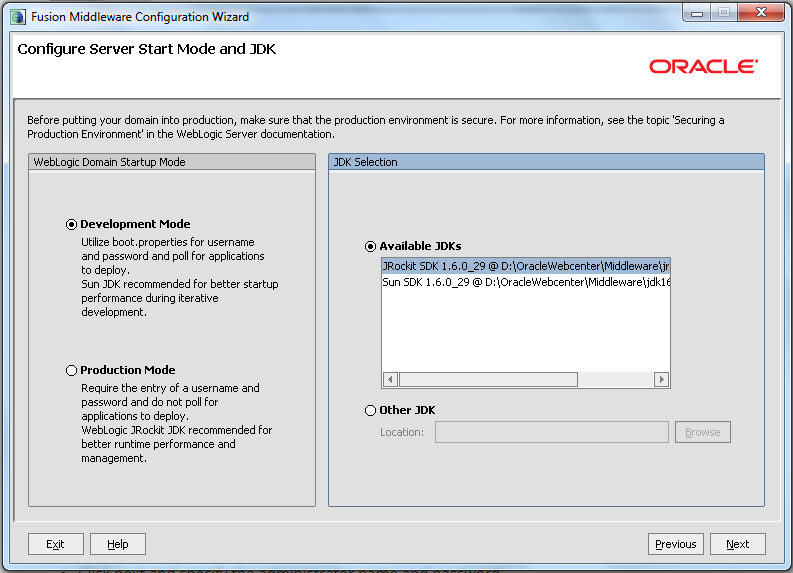 Domain Configuration - Specify Server Start Mode And JDK