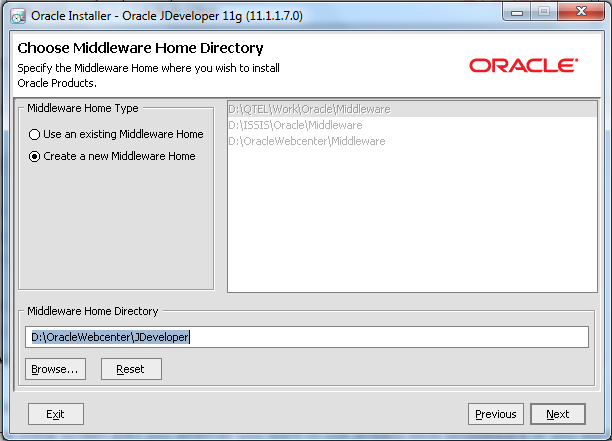 Oracle JDeveloper Wizard - Create Oracle Home Directory