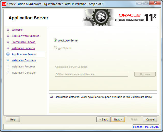 Oracle Webcenter Wizard - Step 5