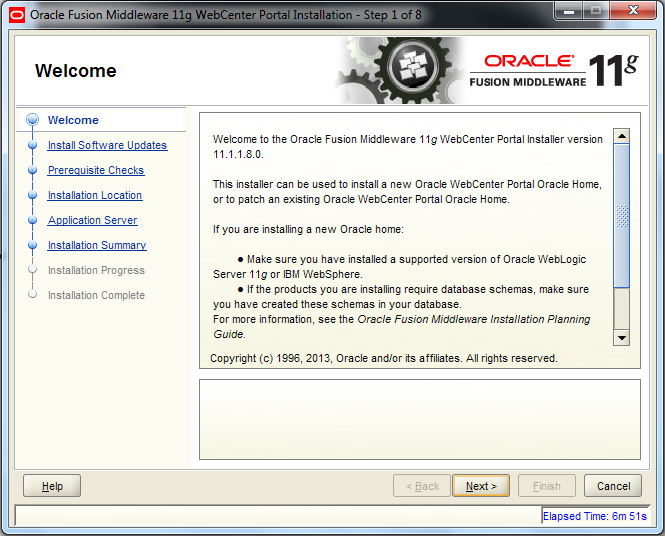 Oracle Webcenter Wizard - Welcome Screen