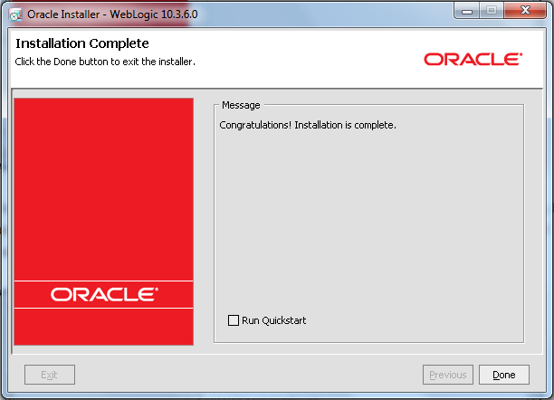 Oracle Weblogic Middleware - Installed Successfully