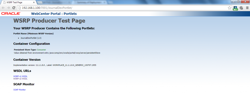 Portlet WSRP Test Page - Open Test Page