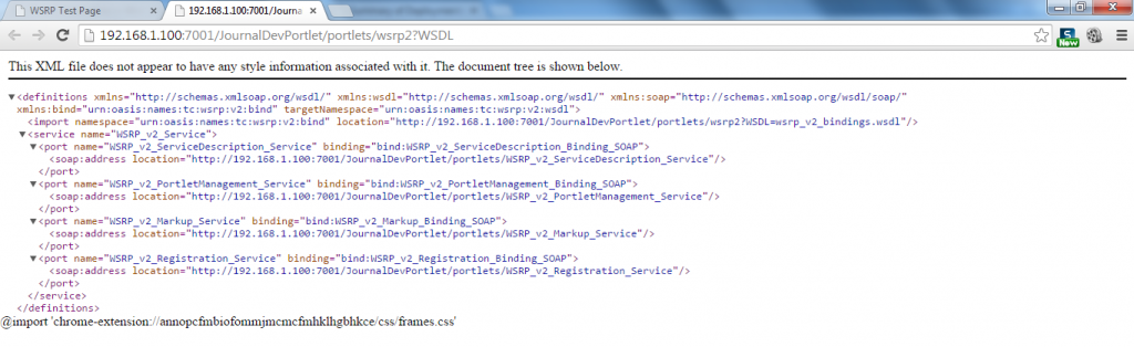 Portlet WSRP Test Page - WSDL Response