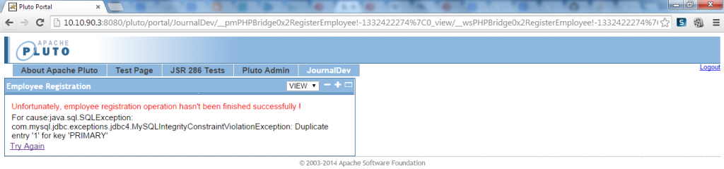 PHP Employee Registration - Duplicate ID Exception