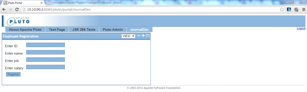 PHP Employee Registration - Initial View