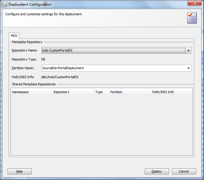 Deploy Application - Select MDS Repository