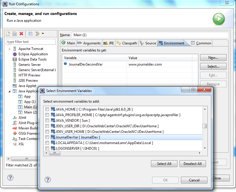 Eclipse IDE - System Variables Cache
