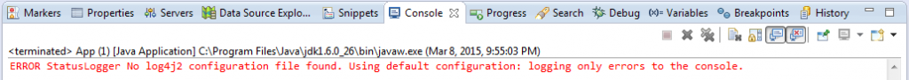 Error StatusLogger No log4j2 configuration file found. Using default configuration: logging only errors to the console.