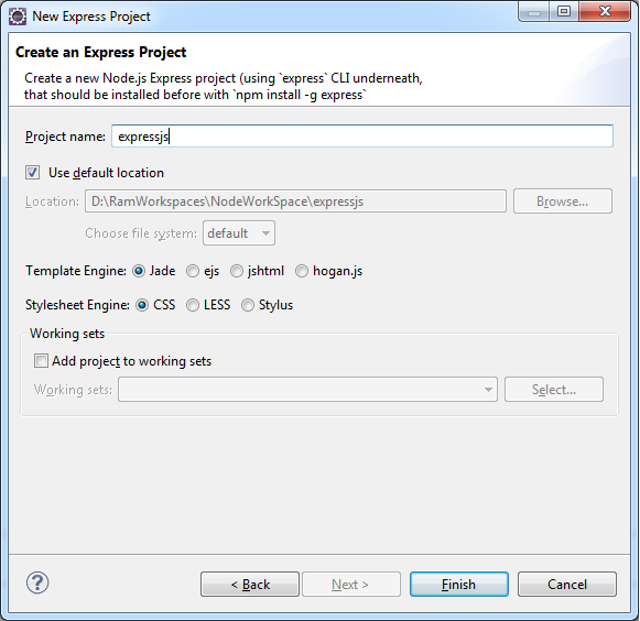 Express js webapplication with enide studio 2014 ide for Express template engines