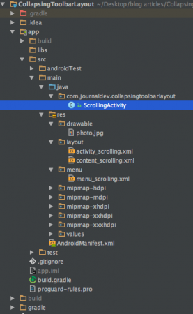 android CollapsingToolbarLayout project