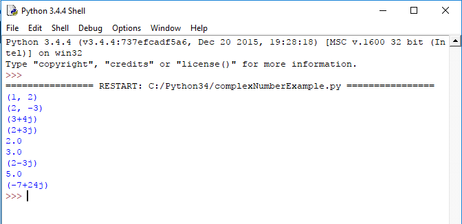 python complex numbers functions example output