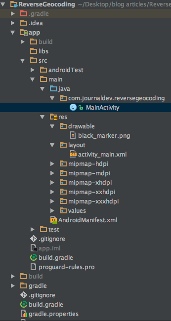 android geocoder reverse geocoding example project structure