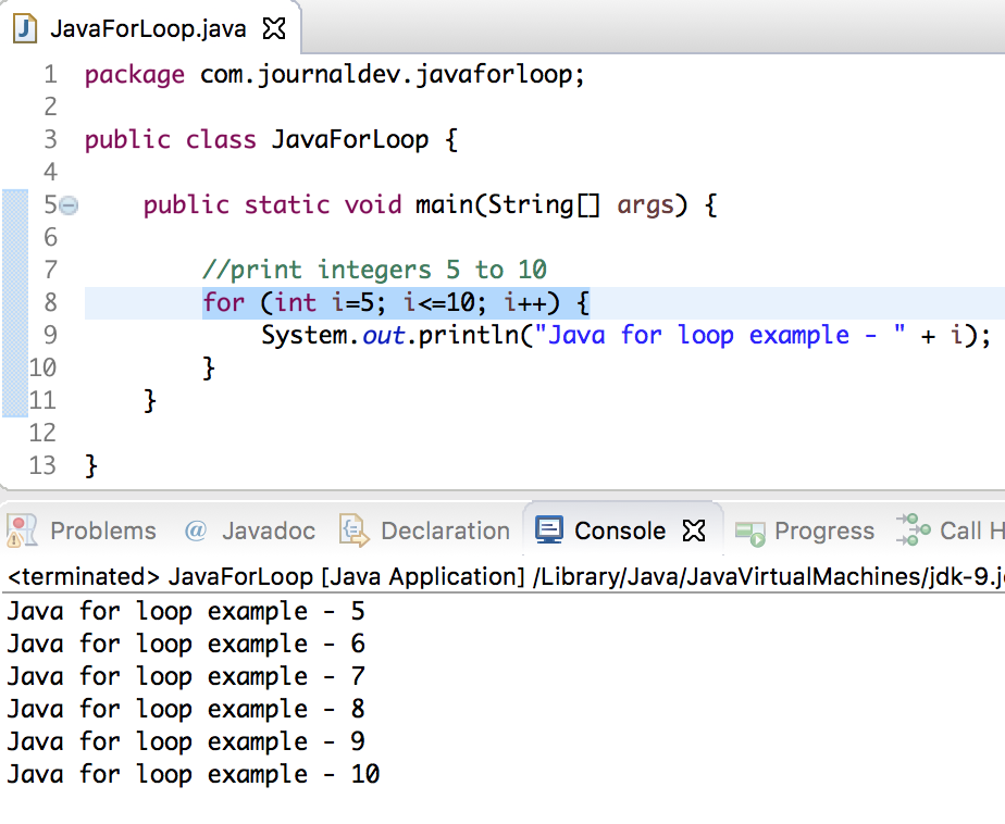 java for loop exit example