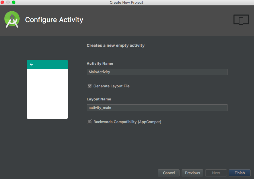 android configure activity