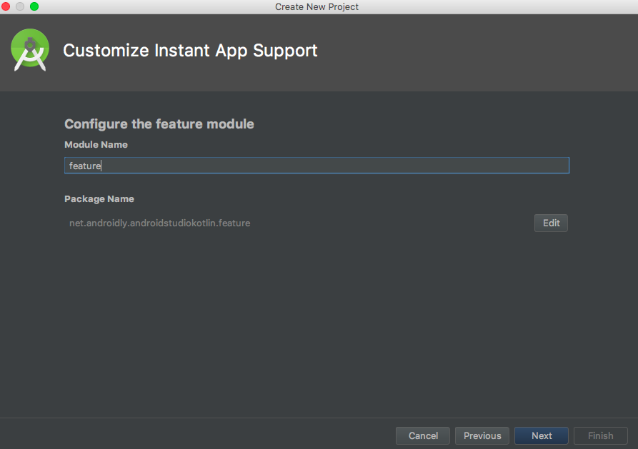 android studio custom instant app support