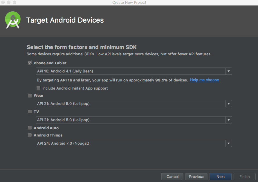 android studio target devices