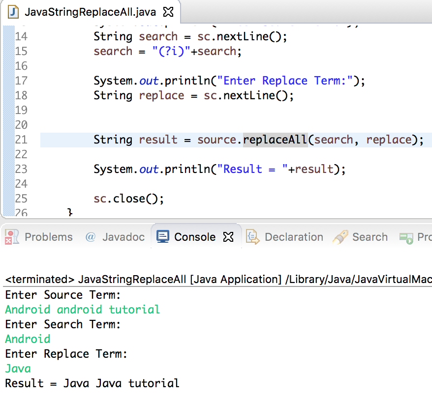 java string replaceAll example