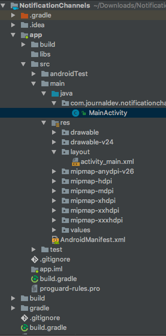 Android NotificationChannel Project Structure