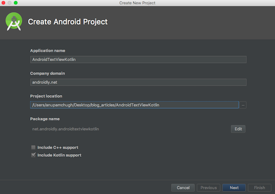 android textview kotlin project