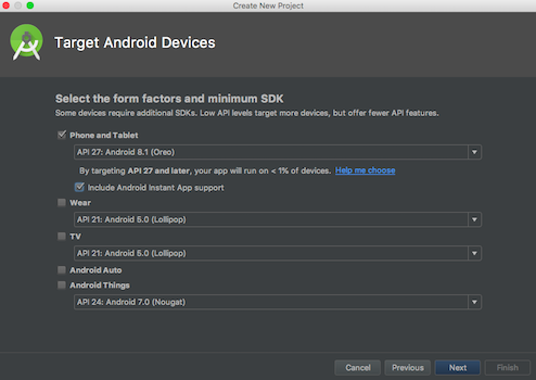 android instant apps project wizard