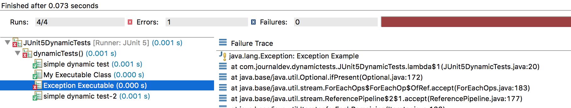 JUnit Dynamic Tests @TestFactory example
