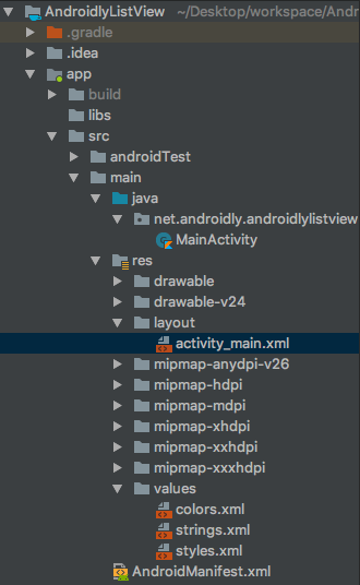 android listview project structure