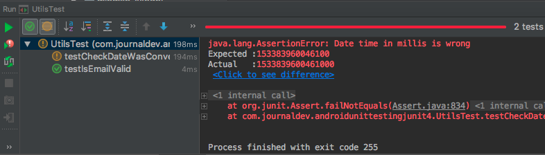 android junit output