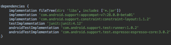 android junit testing dependency
