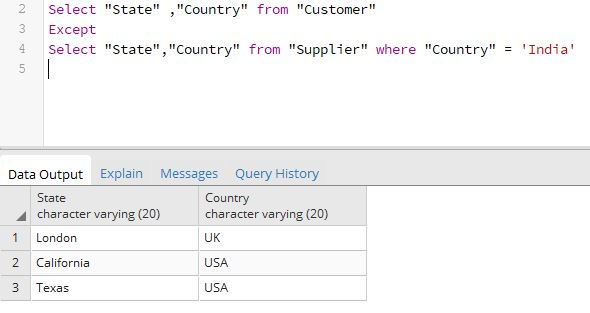 sql except with where clause