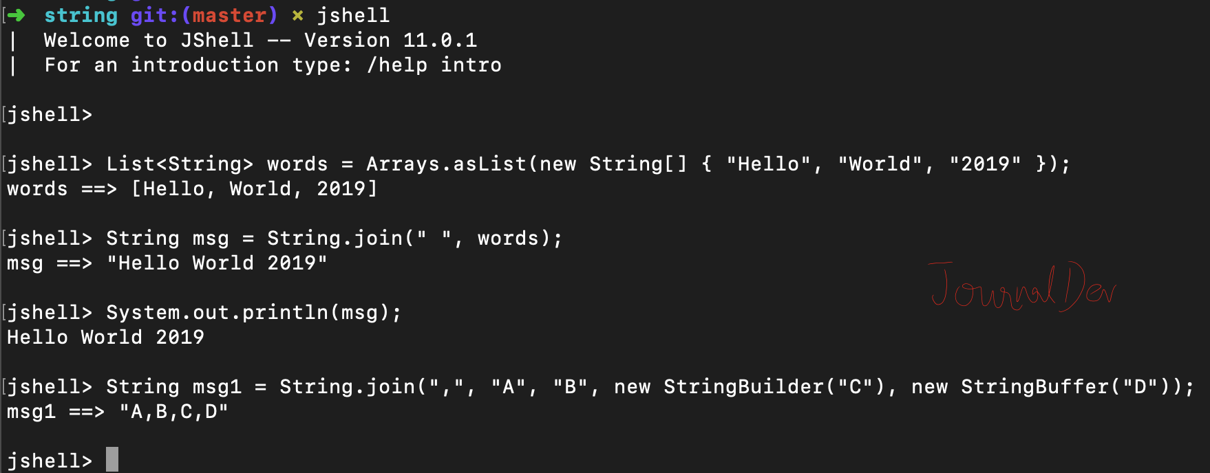 Java String join() with delimiter