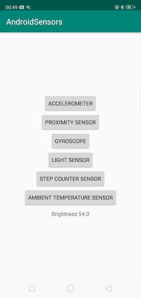 Android Sensors App Output