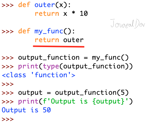 Python Function Return Outer Function