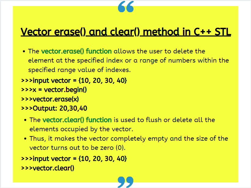 Vector Erase() And Clear() Method In C STL