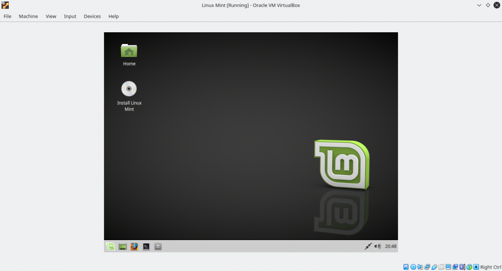 Linux Mint Live Environment when install Linux mint on Virtualbox