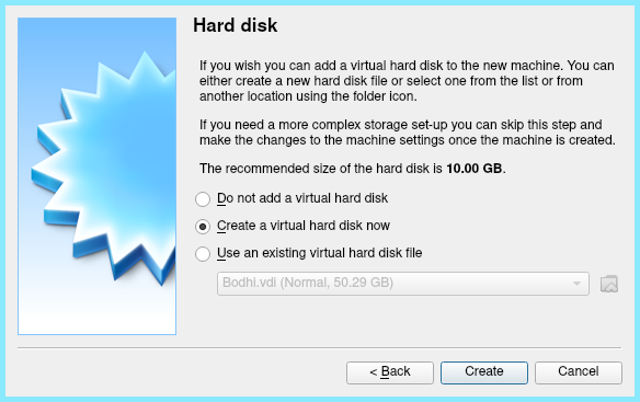 Creating A Virtual Hard Disk to install Linux mint on Virtualbox