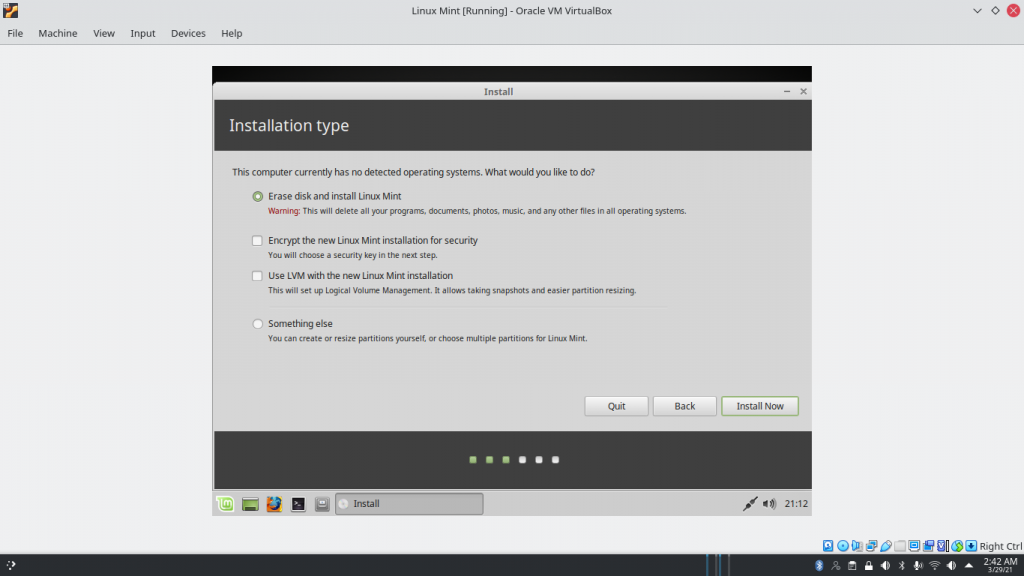 Erase Disk And Install Linux Mint