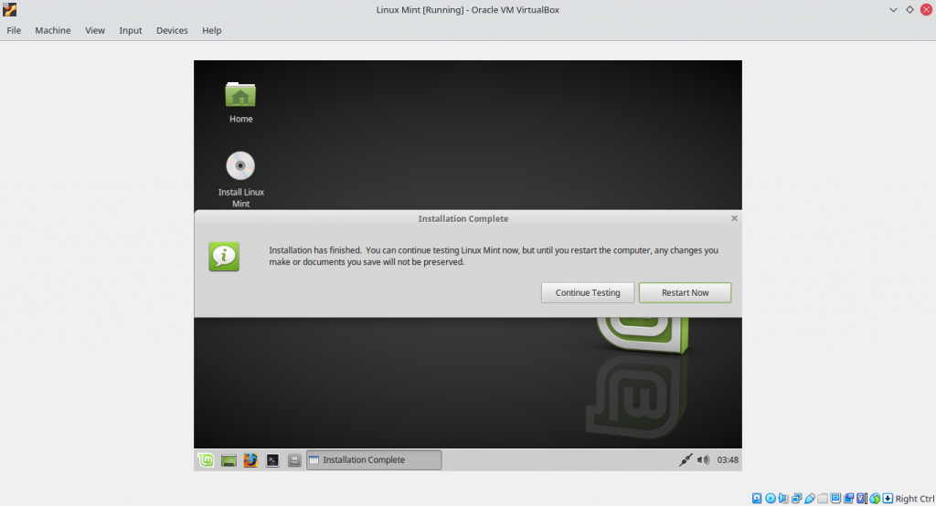 Successfully Installed Linux Mint